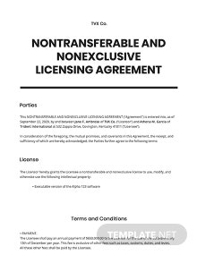 License Agreement Non Transferable and Non Exclusive License Template