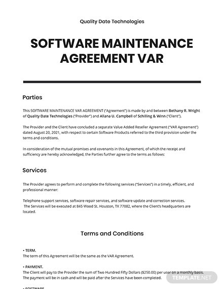 Software Maintenance Agreement VAR Template