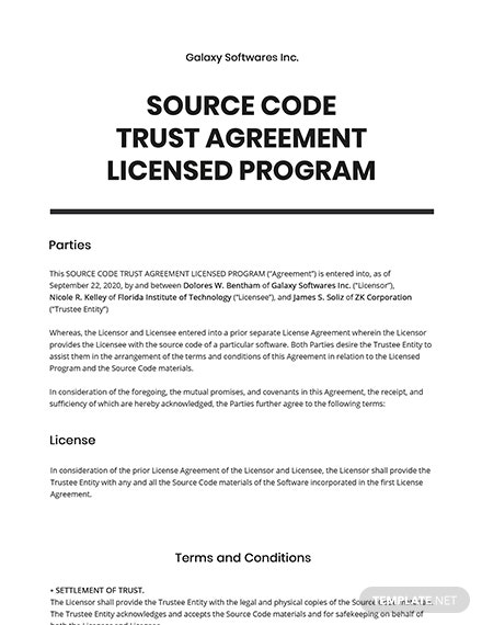 Source Code Trust Agreement Licensed Program