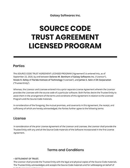 Source Code Trust Agreement Licensed Program Template