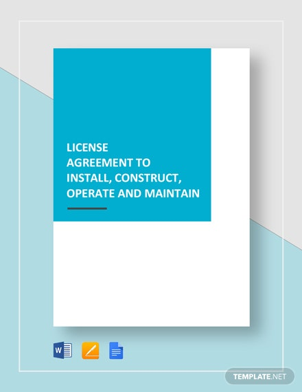 License Agreement Install, Construct, Operate, Maintain Template