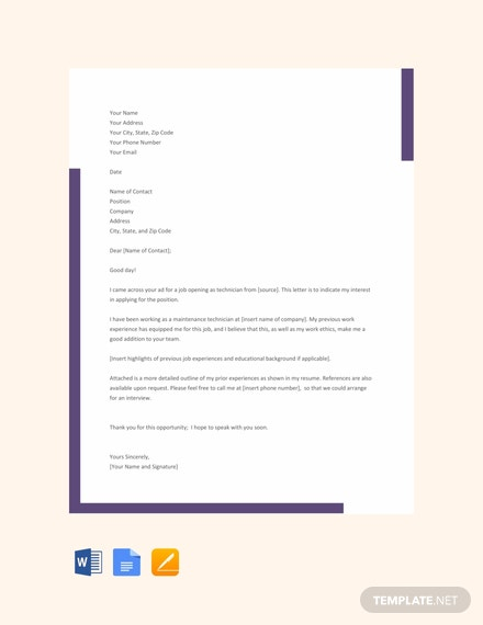 FREE Technician Resume Cover Letter Template - Word | Google ...