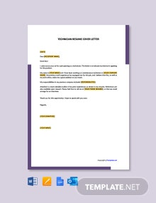 Free Technician Resume Cover Letter Template
