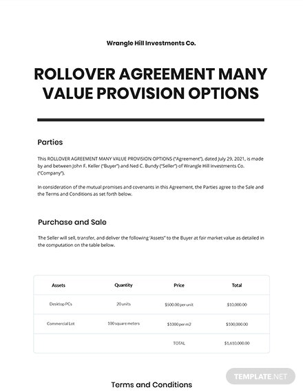 Rollover Agreement Many Value Provision Options Template