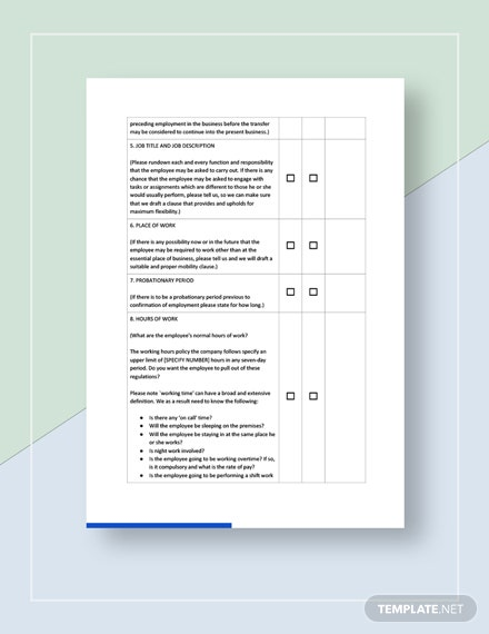 Checklist for Employment Agreements Template
