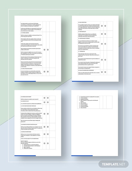 Sample Checklist for Employment Agreements