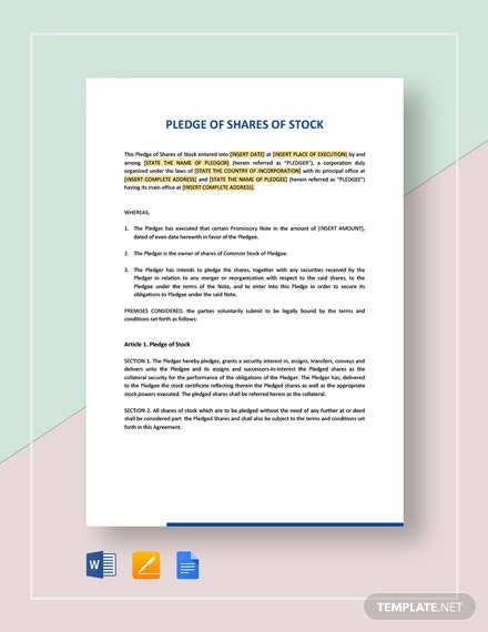 Pledge of Shares of Stock Template