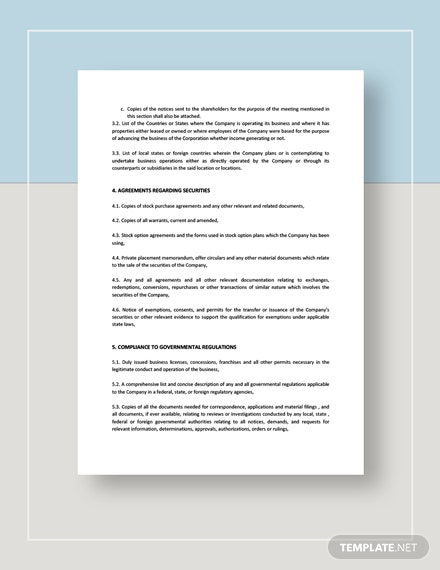 Acquisition of Common Shares Documents Request for Due Diligence Download