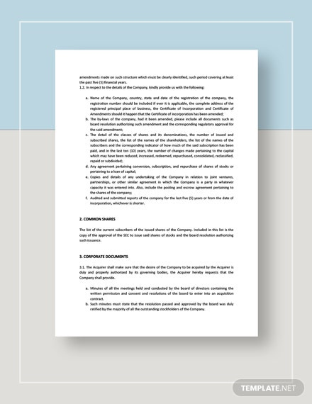 Acquisition of Common Shares Documents Request for Due Diligence Template