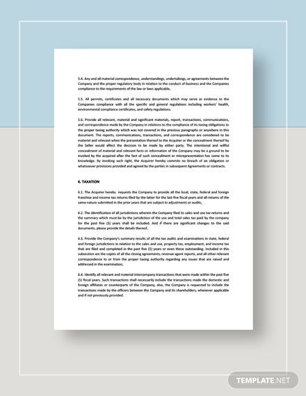 Sample Acquisition of Common Shares Documents Request for Due Diligence