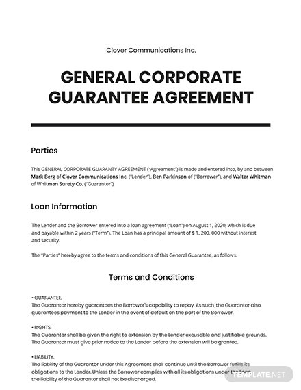 General Corporate Guaranty Template