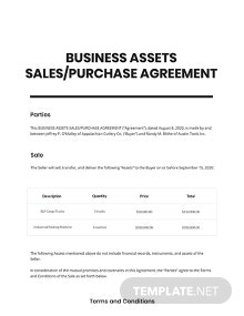 Agreement of Purchase and Sale of Business Assets Short Template