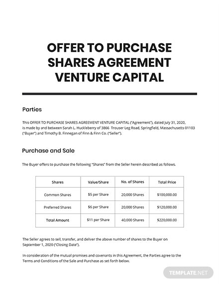 Offer To Purchase Shares Agreement Venture Capital Template