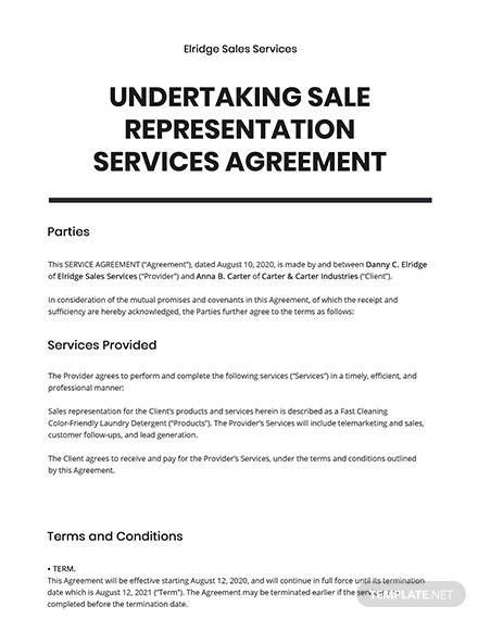 Undertaking Sale Representation Services Template
