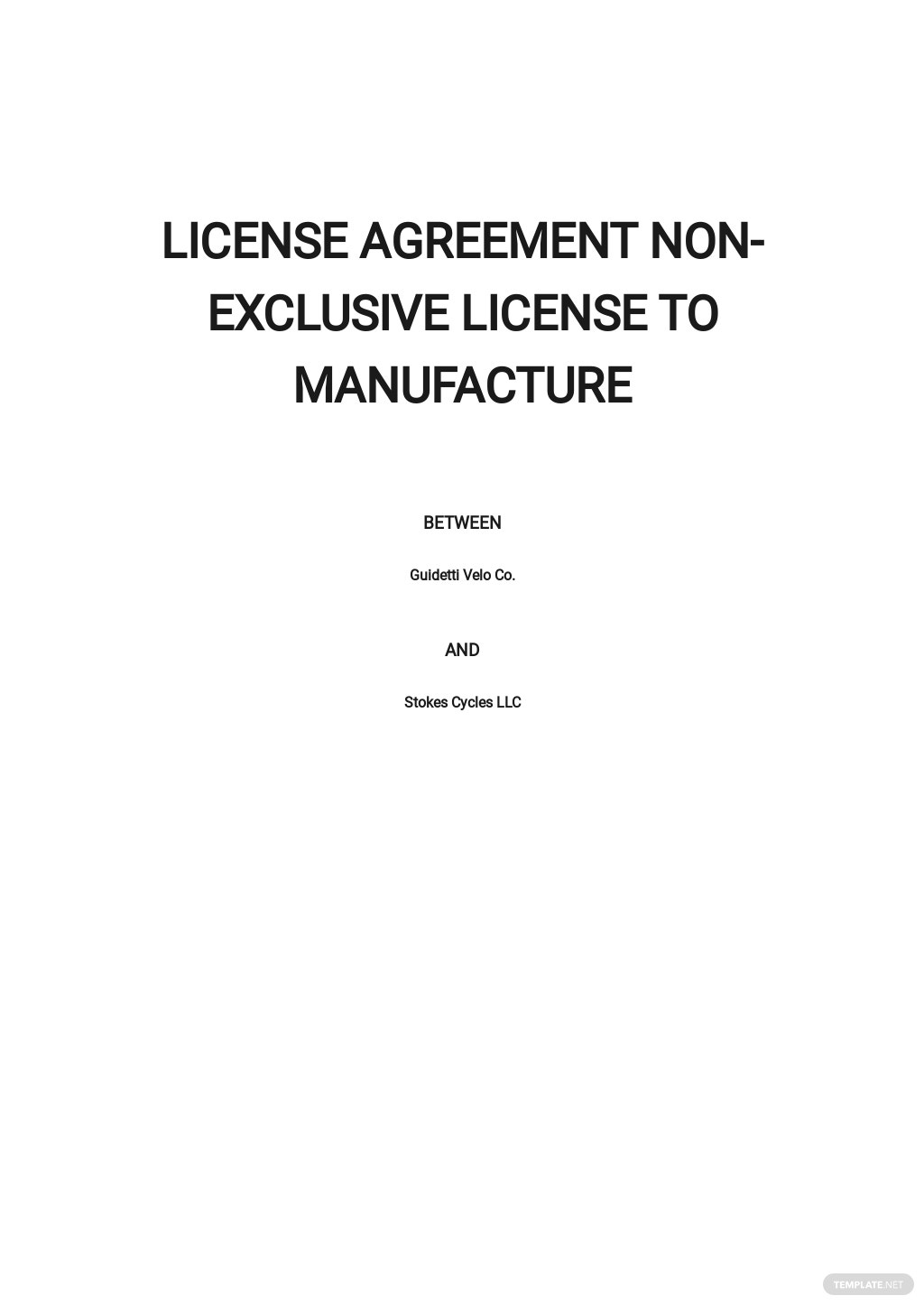 License Agreement Non Exclusive License To Manufacture Template.jpe