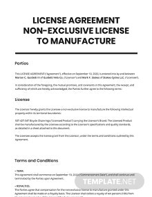 License Agreement Non-Exclusive License To Manufacture Template