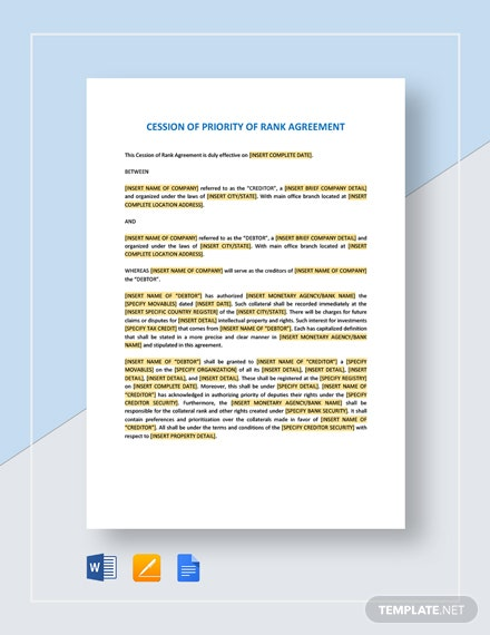 Cession of Priority of Rank Agreement Template