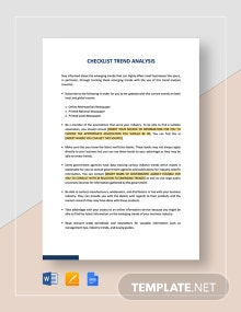 Checklist Trend Analysis Template