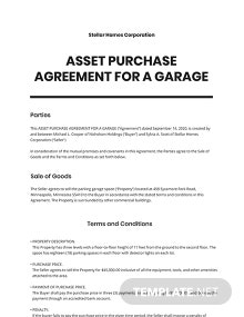 Asset Purchase Agreement For a Garage Template