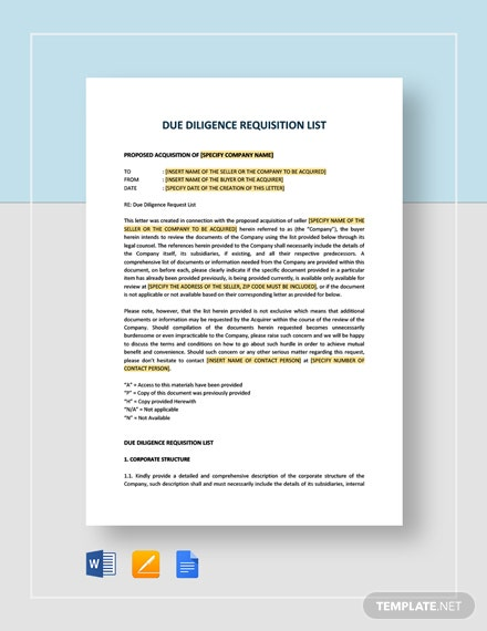 Due Diligence Requisition List Template