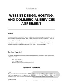 Website Design, Hosting and Commercial Services Agreement Template