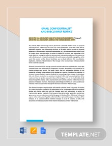 Email Confidentiality and Disclaimer Notice Template