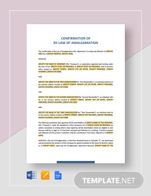 Confirmation of By-Law of Amalgamation Template