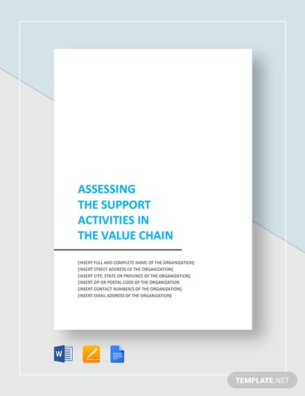 Assessing the Support Activities in the Value Chain Template