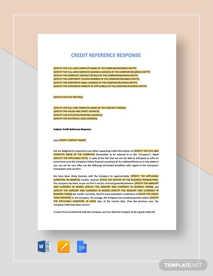 Credit Reference Response Template