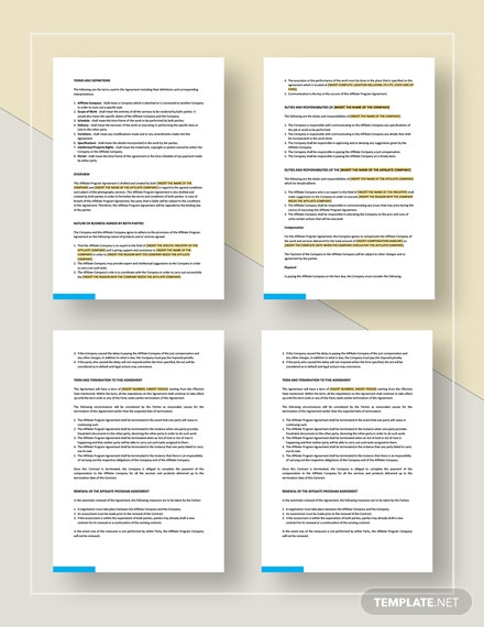 Affiliate Program Agreement Template Word Google Docs