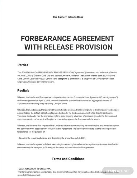Forbearance Agreement With Release Provision Template
