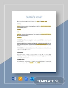 Assignment of Copyright Template