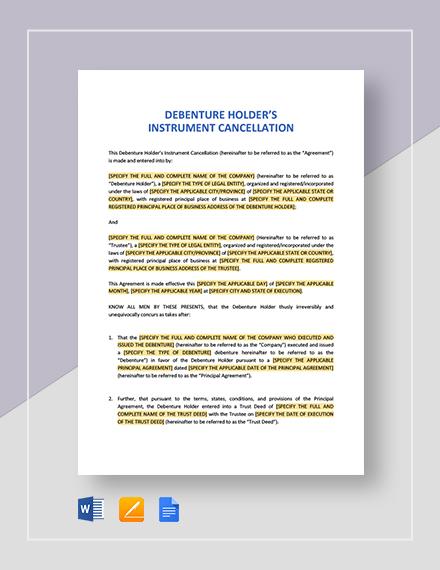 Debenture Holder's Instrument Cancellation Template