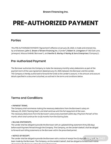 PreAuthorized Payment