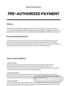 Pre-Authorized Payment Template