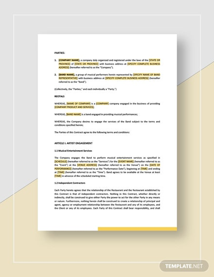 Music Band Contract Template