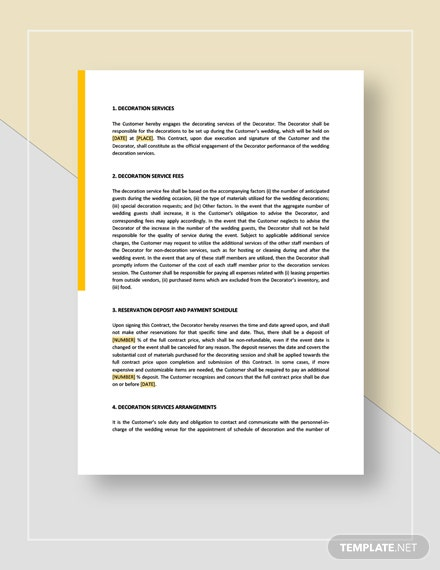 Wedding Decoration Contract Template Word Google Docs