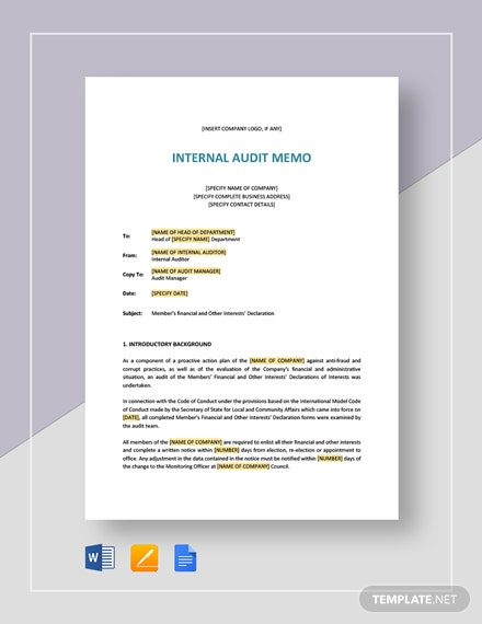 Internal Audit Memo Template