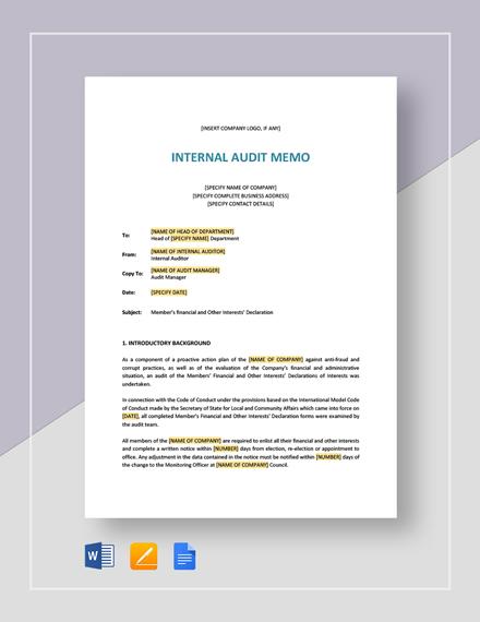 Internal Audit Memo Template