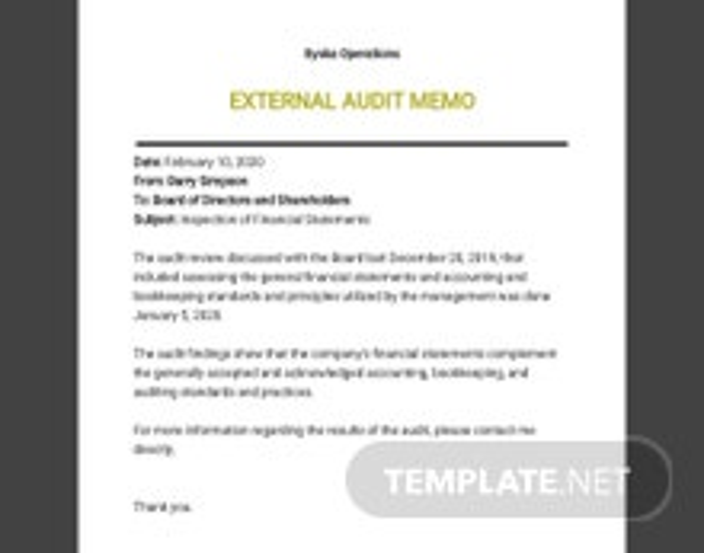 External Audit Memo Template
