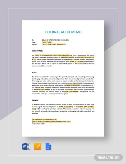 External Audit Memo Template
