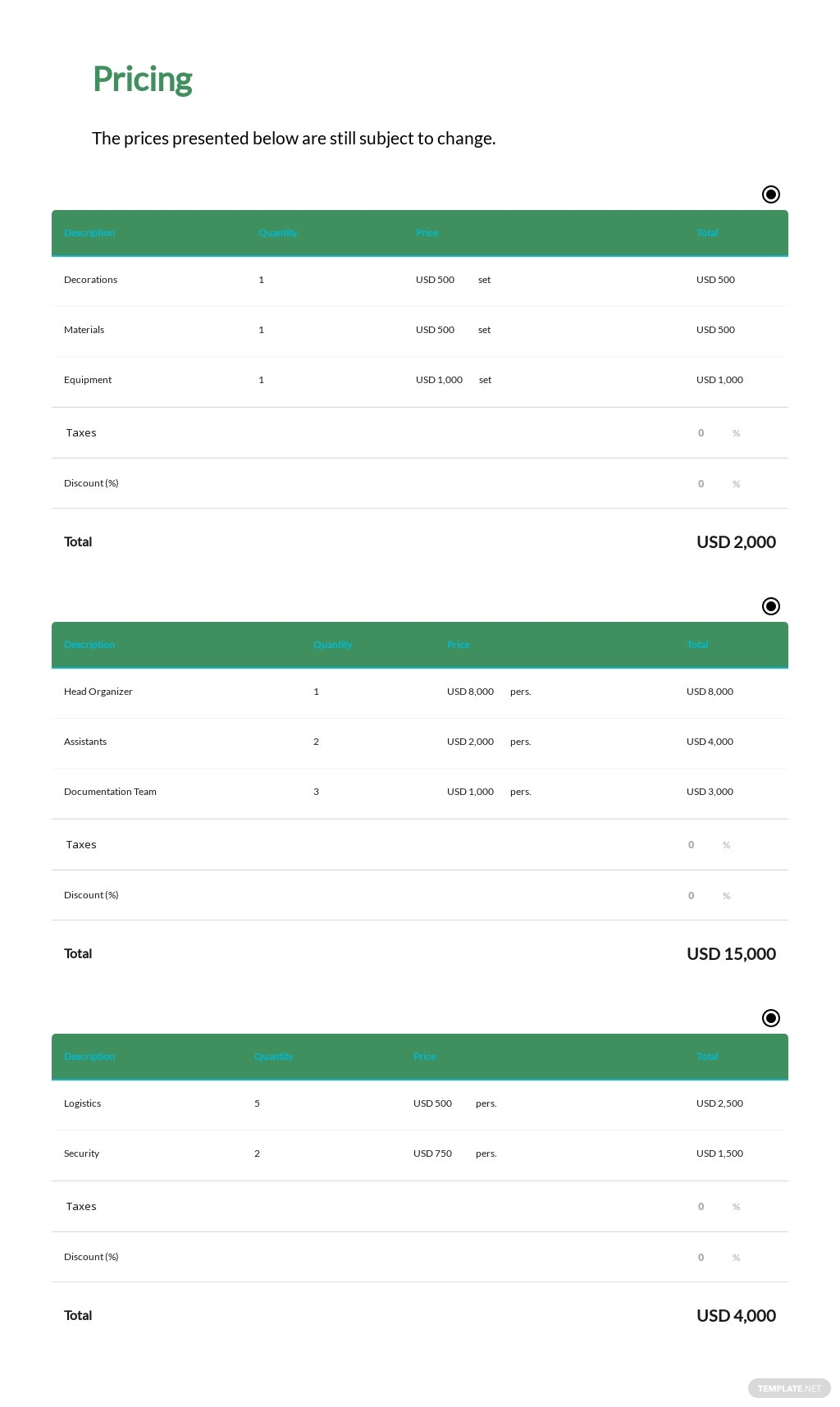 Event Budget Proposal Template  - Google Docs, Word, Apple Pages