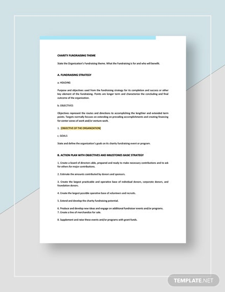Charity Fundraising Plan Template