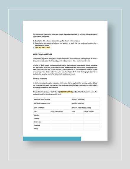 Sample Employee Work Plan