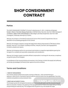 Shop Consignment Contract Template