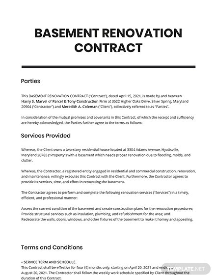 Basement Renovation Contract Template