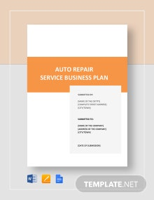 Auto Repair Service Business Plan Template