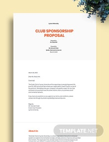 Club Sponsorship Proposal Template
