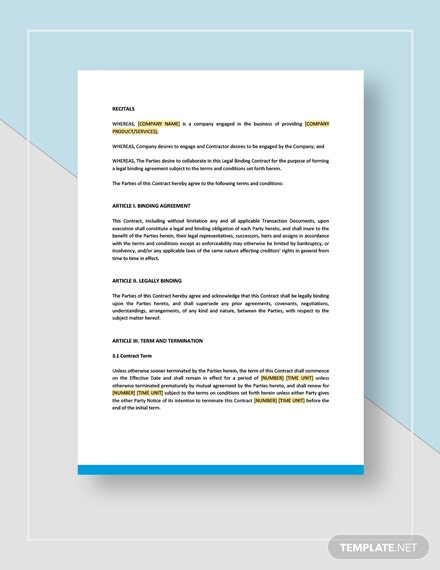 Legal Binding Contract Template