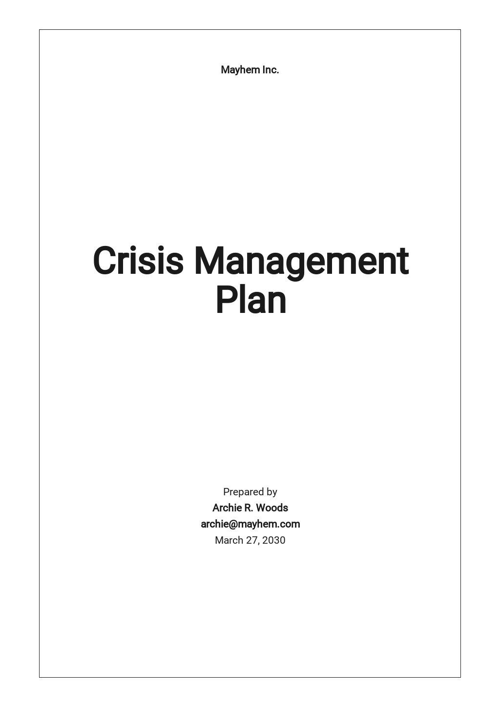 Crisis Management Plan Template
